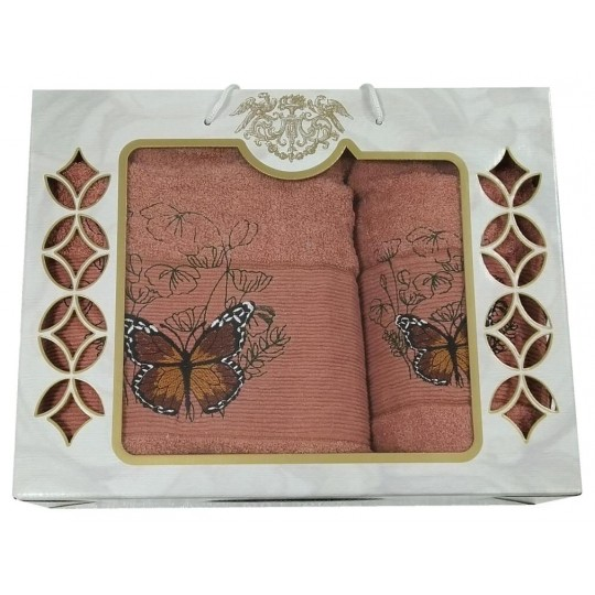 Набор махровых полотенец Великолепная бабочка, терракот