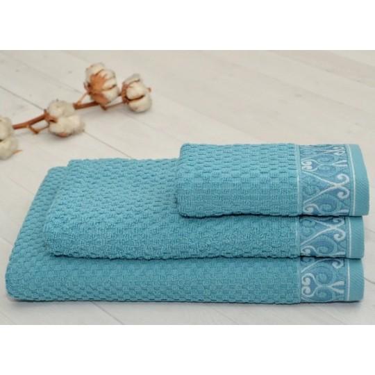 Полотенце 70х140 махровое жаккардовое Пальмира, серо-голубой