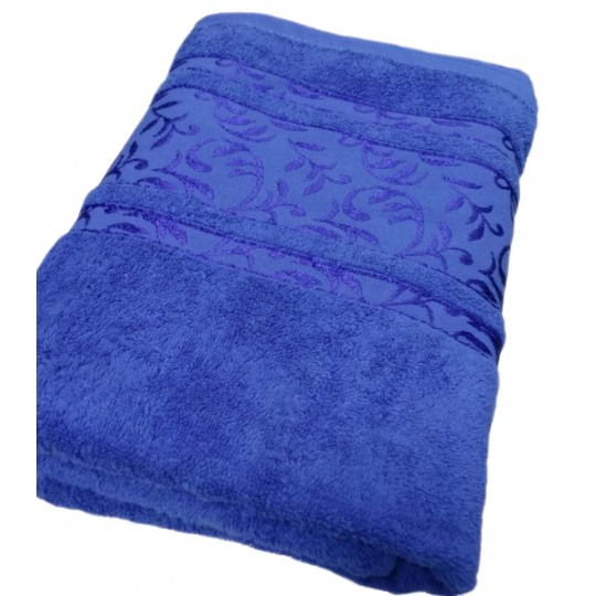 Полотенце 50х90 махровое Флора, синий