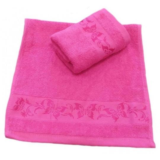 Полотенце 30х60 махровое Весна-бабочки, розовое