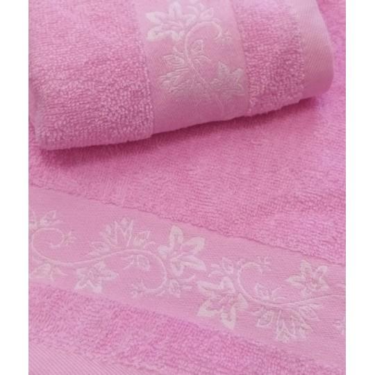 Полотенце 30х60 махровое Весна-цветы, розовое